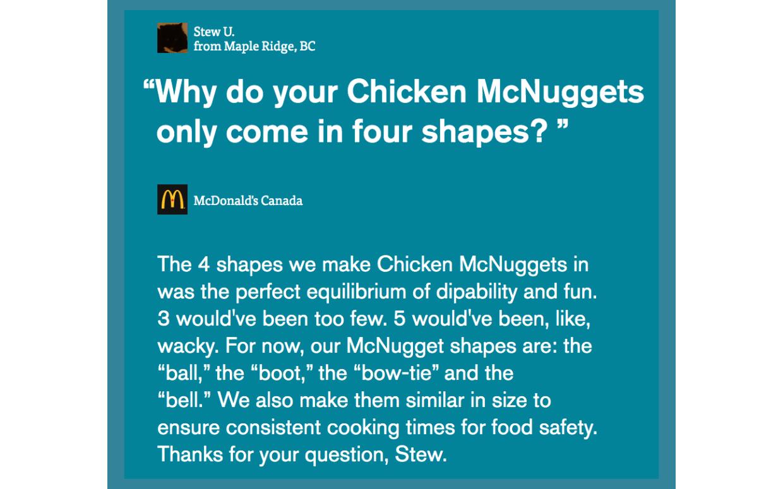 チキンマックナゲットの形はなぜ4種類なの?