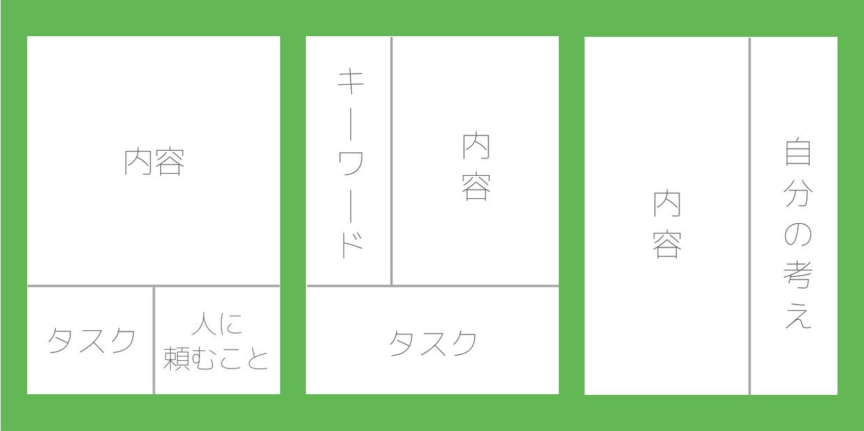メモする内容に応じてスペースを分けるために、ページを分割する